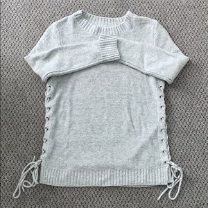 Gray side tie up sweater